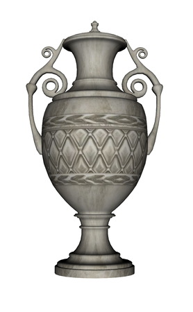 cremated: Urn isolated in white background - 3D render