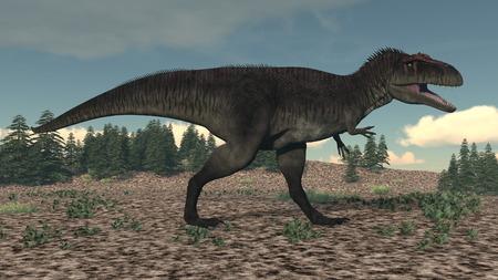 monstrous: Tyrannotitan walking in the desert by day - 3D render