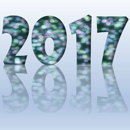 reflection: Green happy new year 2017 with reflection