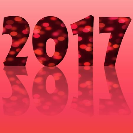 reflection: Red happy new year 2017 with reflection