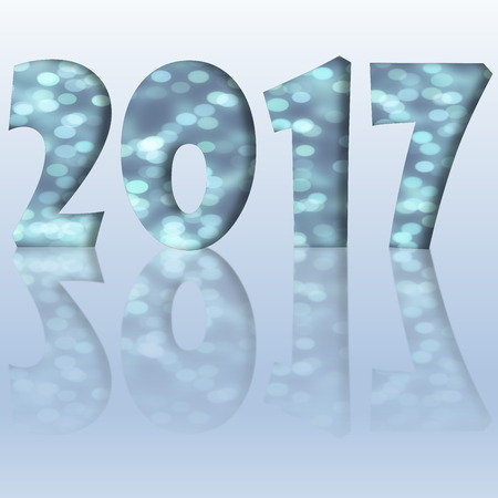 reflection: Blue happy new year 2017 with reflection