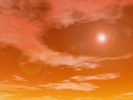 orange sunset: Sun shining in a orange sunset sky background - 3D render Stock Photo