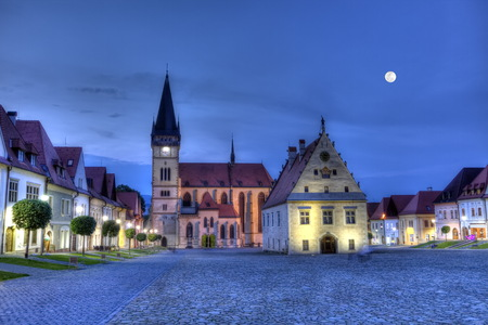 Old town square in Bardejov by night, Slovakia,HDR