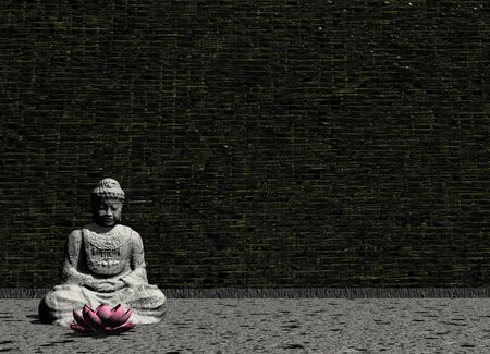 flower room: Peaceful stone Buddha in meditating posture in front of a lotus flower in a grey room - 3D render