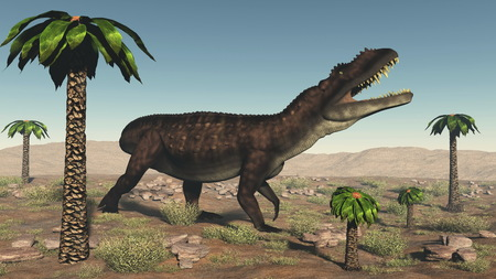 Prestosuchus dinosaur walking in the desert among bjuvia trees - 3D render