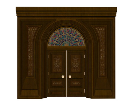Beautiful detailed wood entrance isolated in white background - 3D render