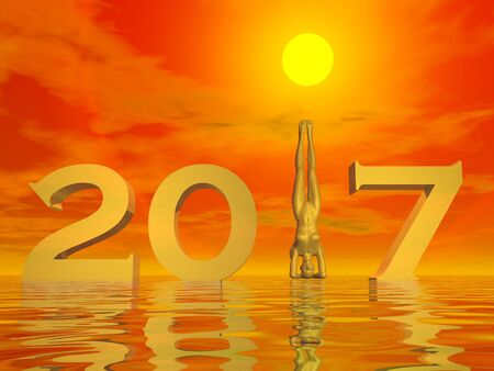 yogi: Peaceful and zen yogi new year 2017 in colorful sunset background - 3D render Stock Photo