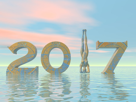 yogi: Peaceful and zen yogi new year 2017 in colorful background - 3D render