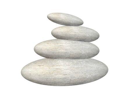 zen stones: Zen stones balance - 3D render Stock Photo