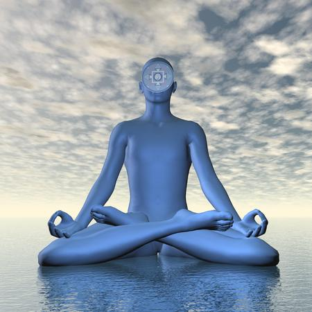 aum: Deep blue ajna or third-eye chakra meditation - 3D render Stock Photo