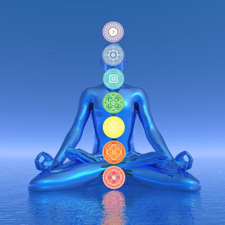 Chakras blue meditation - 3D render