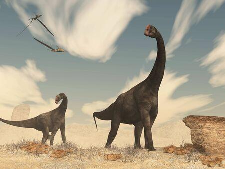 Brontomerus dinosaurs in the desert - 3D render Stock Photo
