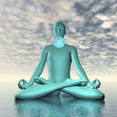 vishuddha: Blue vishuddhi, vishuddha or throat chakra meditation - 3D render Stock Photo