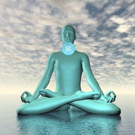 Blue vishuddhi, vishuddha or throat chakra meditation - 3D render Stock Photo
