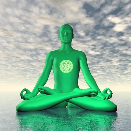 3d om: Green anahata or heart chakra meditation - 3D render