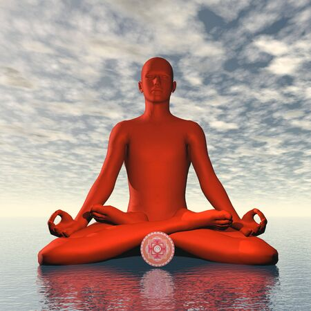 muladhara: Red muladhara or root chakra meditation - 3D render