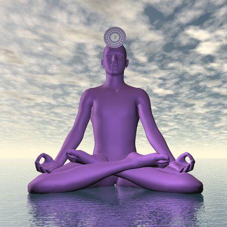 3d om: Violet purple sahasrara or crown chakra meditation - 3D render Stock Photo
