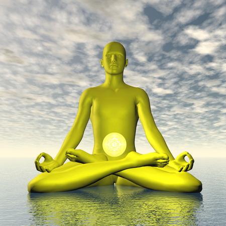manipura: Yellow manipura or solar plexus-navel chakra meditation - 3D render