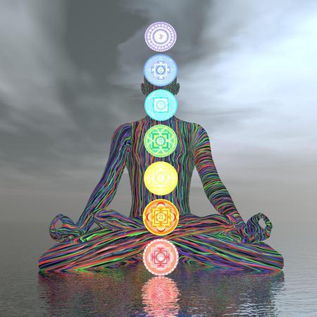 heart chakra red: Chakras cloudy meditation - 3D render Stock Photo