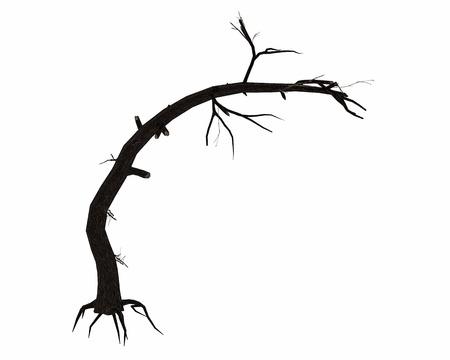 Dead bended tree trunk - 3D render