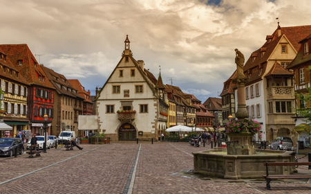 Marketplace in Obernai village, Alsace, France