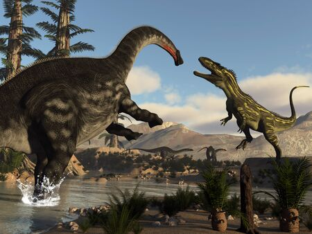 Torvosaurus and apatosaurus dinosaurs fighting - 3D render