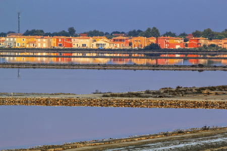 camargue: Houses at Salin de Giraud, Camargue, France