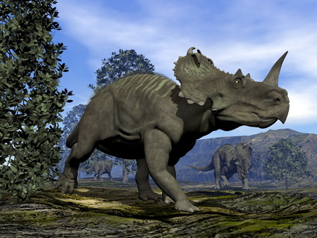 Centrosaurus dinosaurs - 3D render