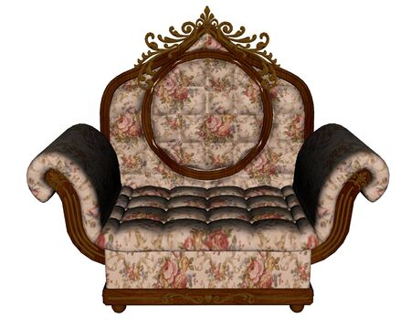 antique furniture: Vintage armchair - 3D render