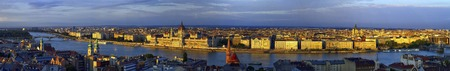 Aerial panoramic view of Danube and Budapest city, Hungary Stock Photo