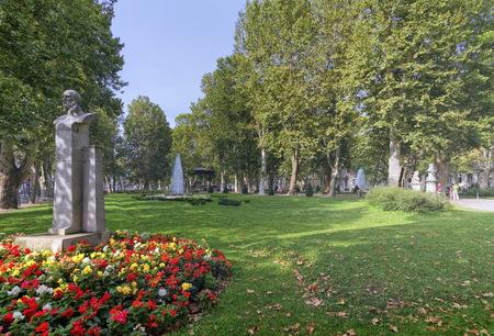 Stone statue of Ivan Mazuranic in Zrinjevac park in Zagreb, Croa