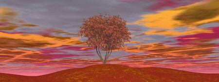 Single autumn tree - 3D render Stock Photo