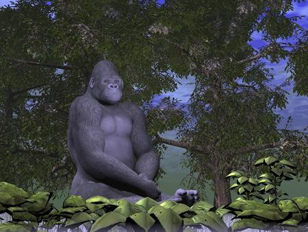 sitted: Gorilla monkey thinking - 3D render Stock Photo