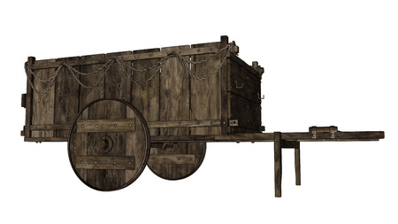 Vintage wooden wagon or cart - 3D render