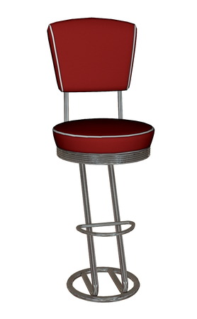 Red bar stool - 3D render