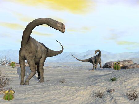 Brontomerus dinosaurs in the desert - 3D render 版權商用圖片