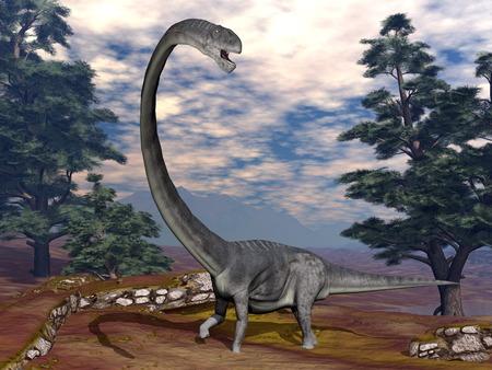 Omeisaurus dinosaur - 3D render 版權商用圖片
