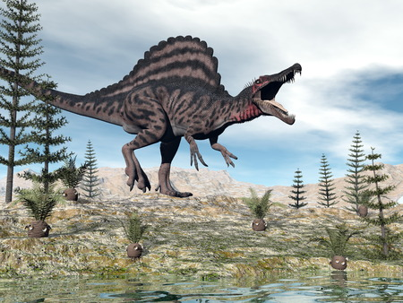 Spinosaurus dinosaur - 3D render Stock Photo