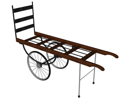 Old-fashioned luggage cart - 3D render