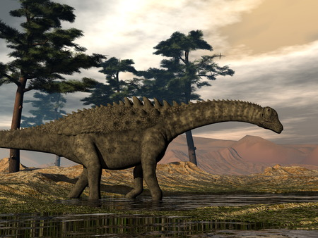 Ampelosaurus dinosaur - 3D render Stock Photo