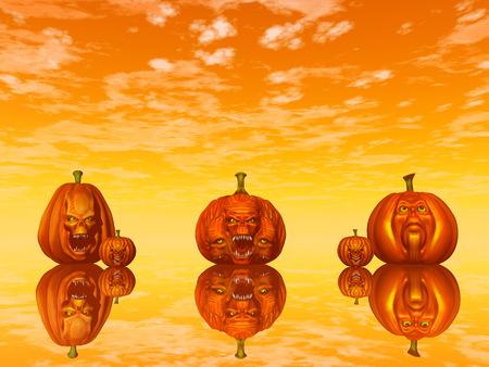 Halloween-Kürbisgesichter - 3D übertragen Standard-Bild - 87773778