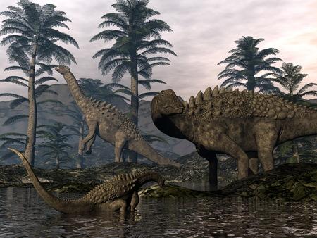 Ampelosaurus dinosaurs family - 3D render