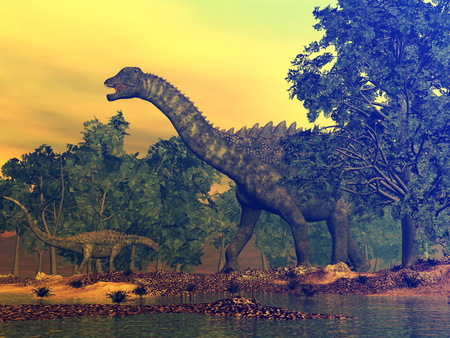 Ampelosaurus dinosaurs - 3D render Stock Photo