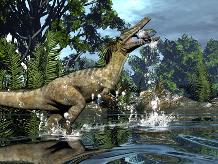Austroraptor dinosaur fishing -3D render Stock Photo