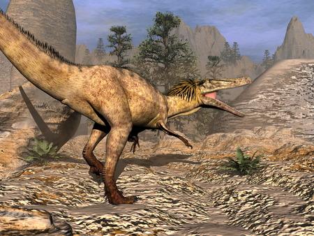 Austroraptor 恐竜ウォーキング - 3 D のレンダリング 写真素材
