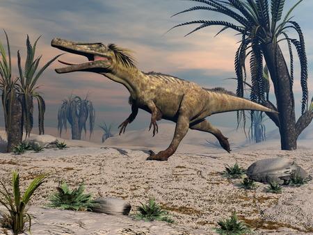 Austroraptor-Dinosaurier, der -3D geht, übertragen Standard-Bild - 87954683