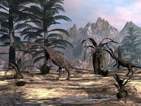 Anchisaurus dinosaurs -3D render Stock Photo