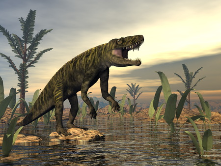 Batrachotomus dinosaur -3D render Stock Photo