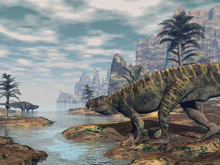 Batrachotomus-Dinosaurier -3D übertragen Standard-Bild - 89353544