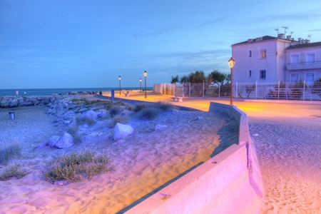 Promenade near the sea, Saintes-Maries-de-la-mer, France, HDR Stock Photo
